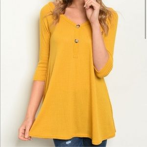 Tops - Mustard vneck waffle knit button up tunic NWT